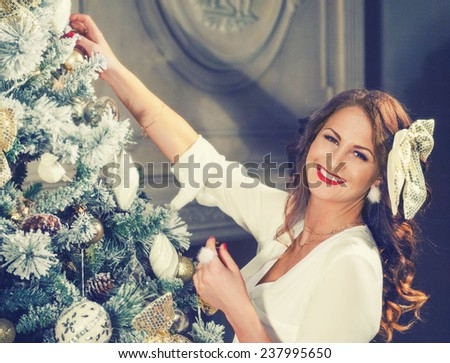 Woman New Year Portrait - stock photo