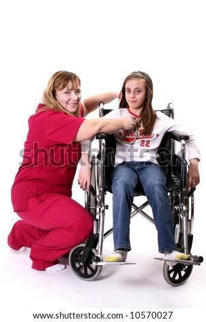 Woman nurse with sick child. - stock photo