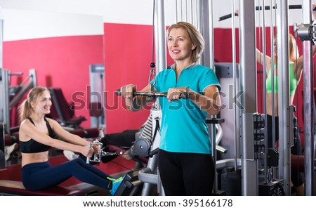 Woman of different age  training in gym