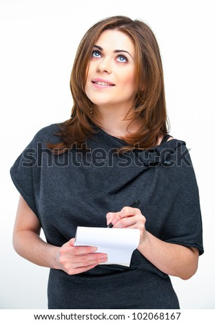 Woman office worker making the list standing against white background. studio isolated one person