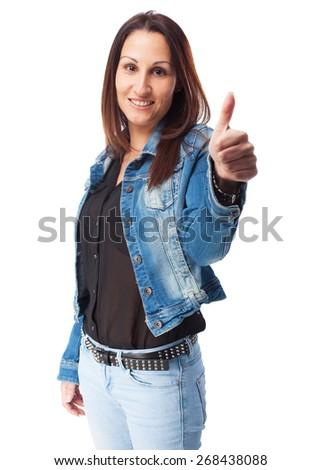 woman okay gesture - stock photo
