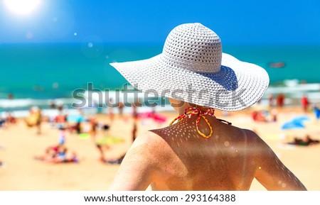 Woman on a beach - stock photo