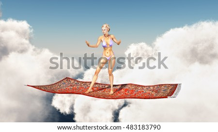 Woman on a flying carpet over the clouds Computer generated 3D illustration