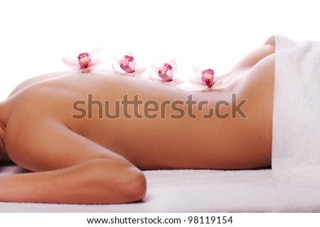Woman on a massage therapy - stock photo