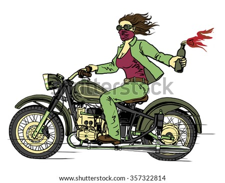 woman on a motorcycle in a green suit with a fire on a white background