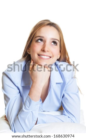 Woman on a pillow looking sideways - stock photo