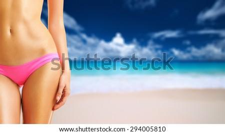 Woman on beautiful beach Anse Intendance at Seychelles. Collage. - stock photo