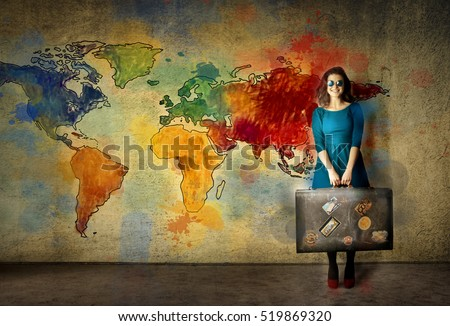 woman on color world map background