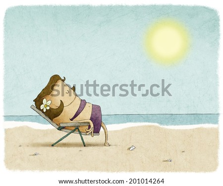 woman on deck chair at the beach - stock photo
