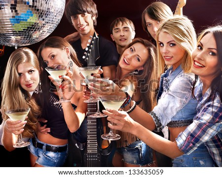 woman on disco night club lighting stock photo safe to use