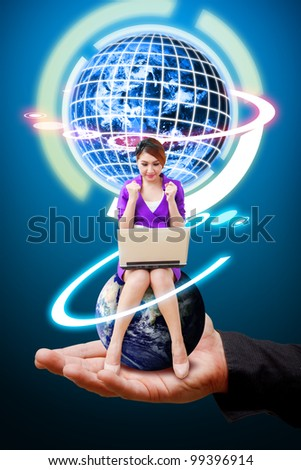 Woman on globe and smile on Business man's hand : Elements of this image furnished by NASA - stock photo
