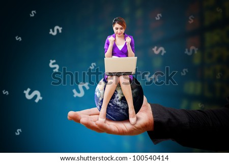 Woman on globe and stock exchange board background : Elements of this image furnished by NASA - stock photo