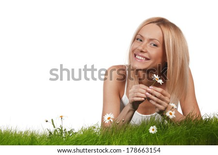 Woman on grass - stock photo