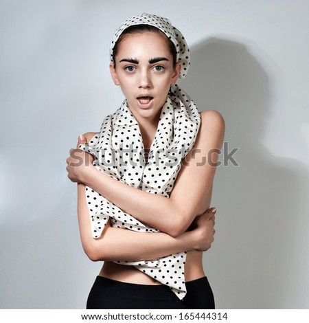 Woman on gray background - stock photo