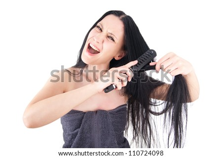Woman on her bad hair day - stock photo