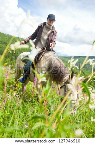 Woman on horse at a walk in the meadow