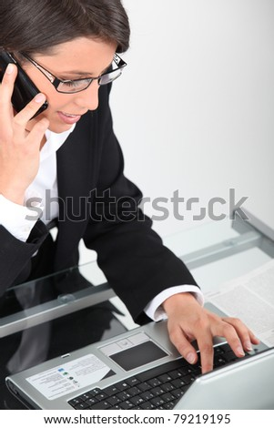 Woman on laptop - stock photo
