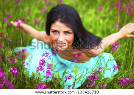 woman on nature - stock photo