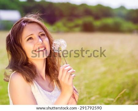 woman on nature - stock photo