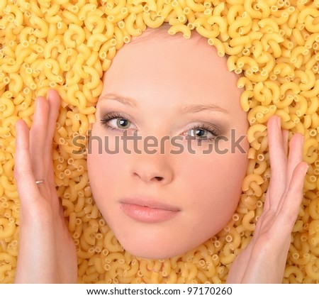 woman on pasta background
