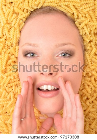 woman on pasta background - stock photo