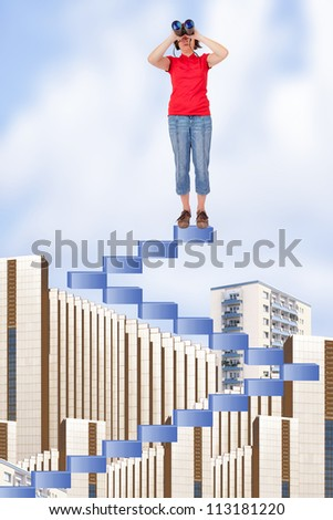 Woman on stairs looking over the roofs - stock photo