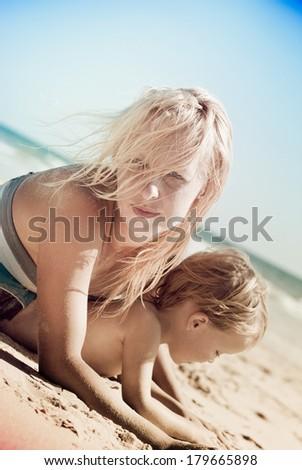 woman on the beach  - stock photo