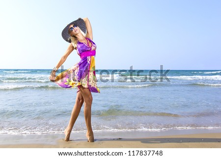 Woman on the beach enjoying the summer - stock photo
