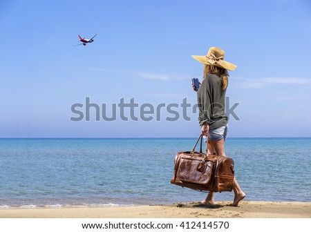 Woman on the beach - Travel concept - stock photo