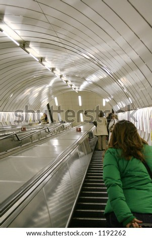 Woman on the London Underground - stock photo