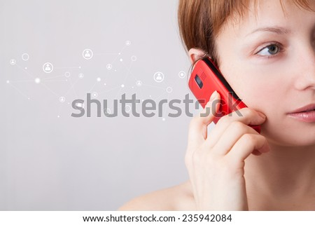 Woman on the phone with added graphic connection icon - stock photo