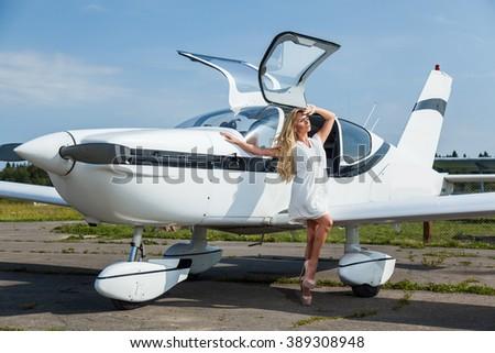 woman on the plane - stock photo