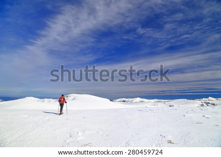Woman on touring skis isolated on alpine plateau in sunny winter day - stock photo