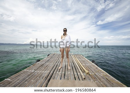 Woman on vacation, Boracay in Philippines