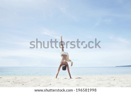 Woman on vacation in Boracay in Philippines