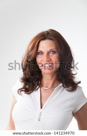 woman on white background - stock photo