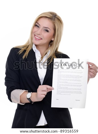woman on white background holding stickynotes or empty cardboard