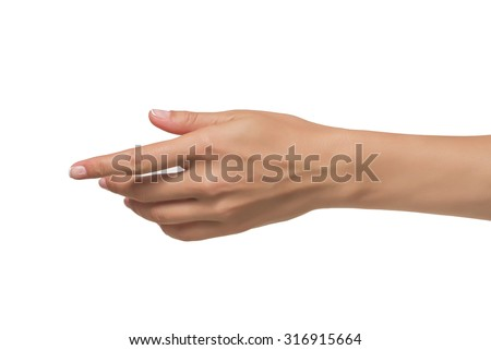 Woman open hand isolated on white background - stock photo