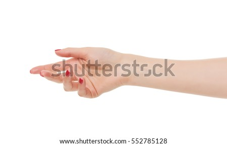 Woman open hand isolated on white background
