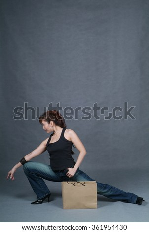 Woman or shopping woman on the background