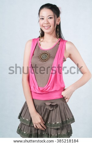 Woman or woman smiling on the background - stock photo
