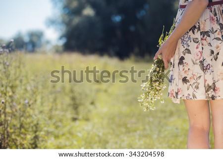 woman outdoor. Summer walk - stock photo
