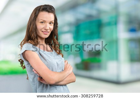 Woman outside the business center