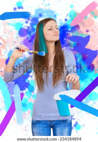 Woman painting the walls and the lock of her hair - stock photo