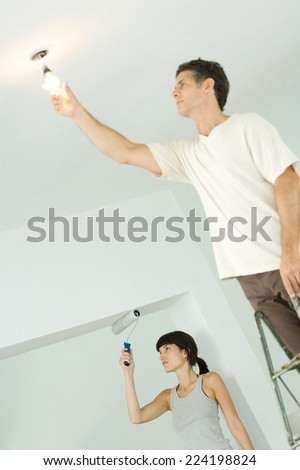 Woman painting with paint roller while man changes lightbulb - stock photo