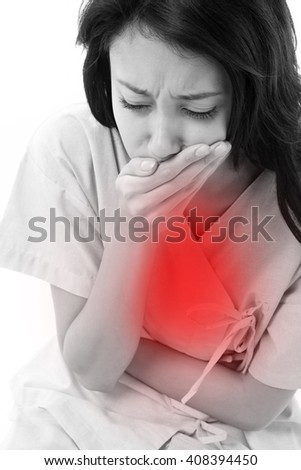 woman patient with nausea symptoms - stock photo