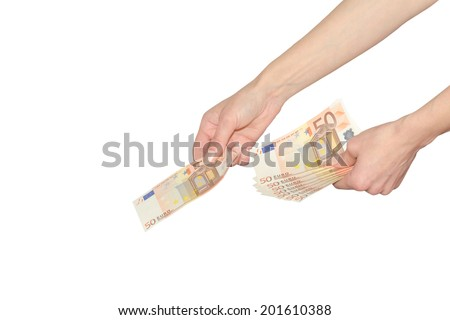 Woman pays or giving cash Euro banknotes money female hands isolated on white - stock photo