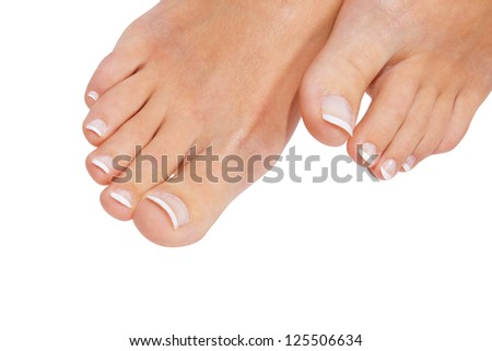 Woman pedicure isolated on white