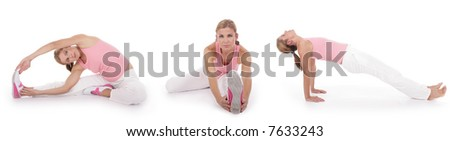 woman performing stretching exercises before fitness training, series of three exercises - stock photo