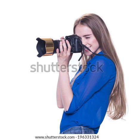Woman photographer takes images, isolated on white background - stock photo